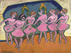 Ernst Ludwig Kirchner (German, 1880-1938) Six Dancers (Sechs Tãnzerinnen), 1911. Oil on canvas.Virginia Museum of Fine Arts, Richmond. The Ludwig and Rosy Fischer Collection, Bequest of Anne R. Fischer. Photo: Katherine Wetzel © Virginia Museum of Fine Arts