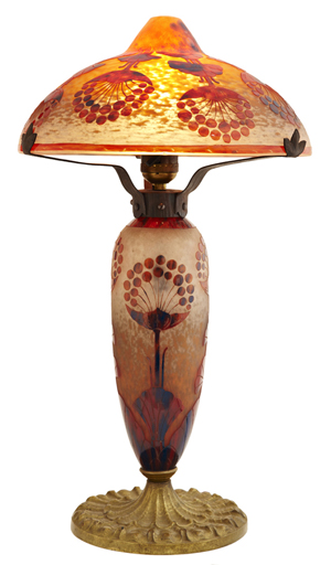 Daum Nancy cameo glass lamp, early 20th century, with signed base (est. $10,000-$15,000). Crescent City Auction Gallery image.