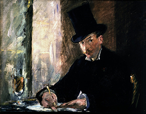 Edouard Manet's 'Chez Tortoni,' one of the paintings stolen in 1990 from the Isabella Stewart Gardner Museum in Boston. Image courtesy of Wikimedia Commons.