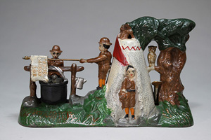 J&E Stevens Boy Scout mechanical bank, ex Larry Feld collection, est. $20,000-$30,000. RSL Auction Co. image.