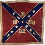 The battle flag of the 8th Virginia Infantry. The 'Bloody 8th' had an 87 percent casualty rate as a result of the charge. Image courtesy Museum of the Confederacy.