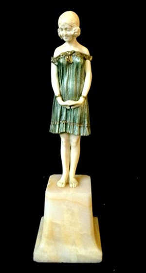 Chiparus silvered bronze and ivory figure titled 'Innocence.' Est. $12,000-$15,000. Ravenswick image.