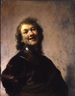 'Rembrandt Laughing,' about 1628. Rembrandt Harmensz. van Rijn (Dutch, 1606–1669). Oil on copper. 8 3/4 x 6 5/8 in. J. Paul Getty Museum, Los Angeles.