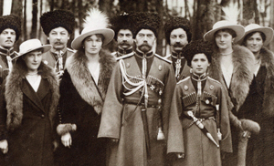The Romanovs visiting a regiment during World War I. From left to right, Grand Duchess Anastasia, Grand Duchess Olga, Czar Nicholas II, Czarevich Alexei, Grand Duchess Tatiana and Grand Duchess Maria and Kuban Cossacks. Copyright Beinecke Rare Book and Manuscript Library, Yale University.