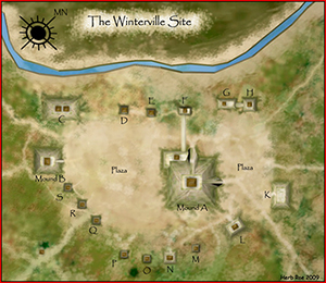 A map of the Winterville Site, a Mississsippian culture mound site near Greenville, Miss. Image by Herb Roe. This file is licensed under the Creative Commons Attribution-Share Alike 3.0 Unported license.