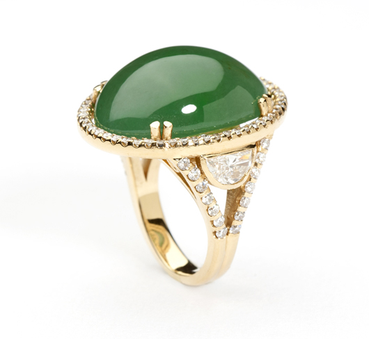 The gorgeous green color of this jadeite cabochon and diamond ring is sure to catch the eye of many bidders at Moran's May 21 sale (estimate: $8000-$12,000). John Moran Auctioneers image.