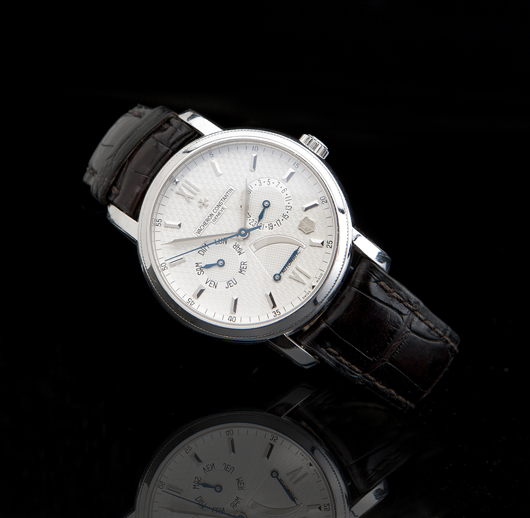 Watches in the Moran sale are led by this limited edition Vacheron Constantin automatic wristwatch in 18K white gold (estimate: $20,000-$30,000). John Moran Auctioneers image.