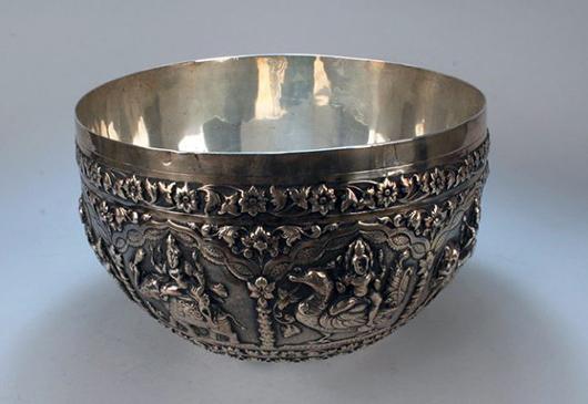 Antique Burmese Silver Bowl, 960 Grams, 19th Century. Estimate  $5,500 - $7,500. Antiquities Saleroom image.