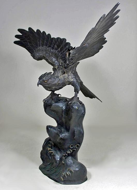 Rare Japanese Iron Kusshin Jizai Okimono Model, Hawk, Meijii Period, 1880s. Estimate  $5,000 - $7,500. Antiquities Saleroom image.