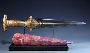 Royal Persian Dagger, Safavid Dynasty, Ca. 1502–1736 CE. Estimate $15,000 - $20,000. Antiquities Saleroom image.