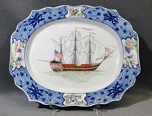 Rare Chinese Export Platter, Blue Fitzhugh Pattern, 18th Century. Estimate $10,000 - $15,000. Antiquities Saleroom image.