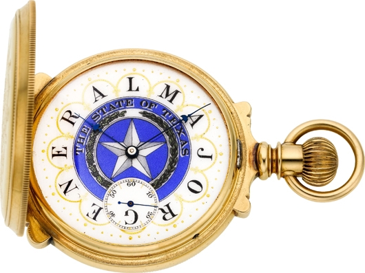 E. Howard & Co. rare gold fancy dial multicolor box hinge hunters case made for Maj. Gen. A.S. Roberts and presented by the Texas Volunteer Guard, 1895. Estimate: $28,000-plus. Heritage Auctions image.
