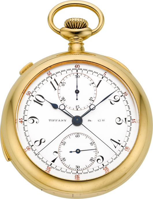 Patek Philippe rare and important minute repeater with split seconds chronograph and register for Tiffany & Co., circa 1903. Estimate: $30,000-plus. Heritage Auctions image.