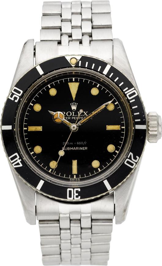 Rolex rare Ref. 6538 'James Bond' Big Crown Submariner, circa 1956. Estimate: $20,000-plus. Heritage Auctions image.