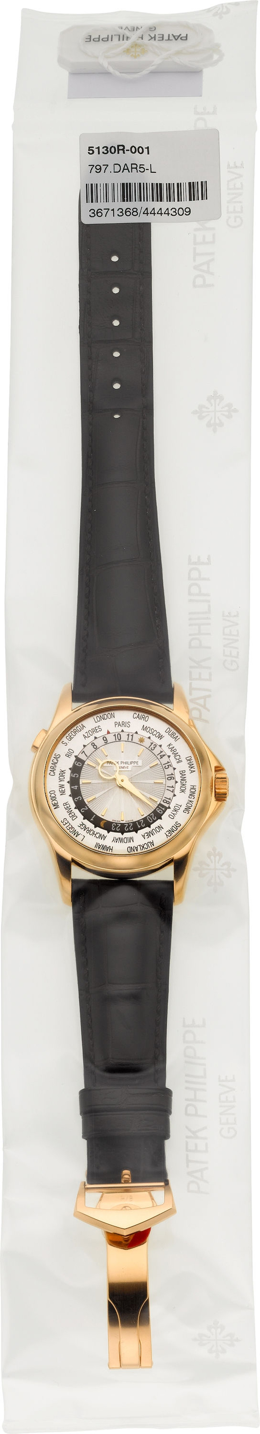 New Patek Philippe single sealed Ref. 5130R-001 rose gold World Time wristwatch. Estimate: $27,500-plus. Heritage Auctions image.