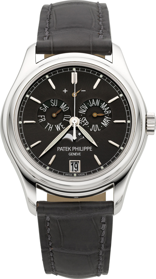 Patek Philippe Ref. 5146P-001 platinum annual calendar with moon phases and power reserve indication. Estimate: $50,000-plus. Heritage Auctions image.