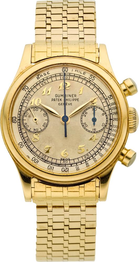 Patek Philippe Ref. 1463 very fine 18K yellow gold men's chronograph, circa 1949. Estimate: $120,000-plus. Heritage Auctions image.