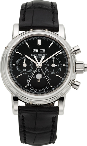 Rare and important Patek Philippe Ref. 5004P platinum wristwatch with split-seconds chronograph, registers, perpetual calendar and moon phases. Estimate: $250,000-$300,000. Heritage Auctions image.