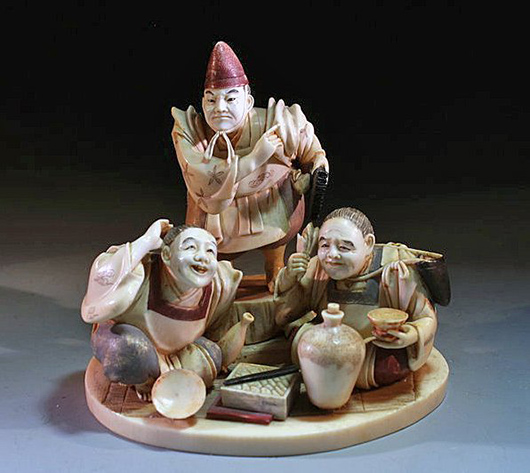 Antique Chinese Ivory Figural Group, Ex-Sotheby's, Estimate $6,000 - $9,000. Antiquities Saleroom image.