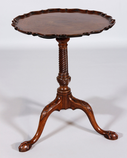 18th Century Chippendale Tilt Top Table With Pie Crust Edge. Price Realized: