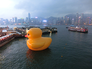 'Rubber Duck' by Dutch artist Florentijn Hofman. Image taken on May 3, 2013 at Ocean Terminal, Hong Kong. Licensed under the Creative Commons Attribution-Share Alike 3.0 Unported license.