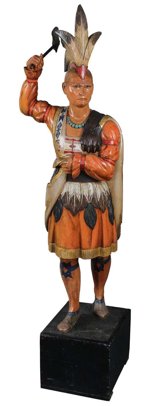 John Cromwell (1805-1873), cigar store Indian, circa 1850, 87 inches high. Provenance: George and Sue Viener collection. Estimate: $75,000 - $125,000. Material Culture image.