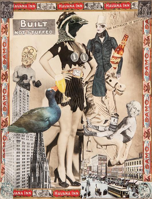 Felipe Jesus Consalvos (Cuban-American, 1891-1960), 'Built - Not Stuffed,' circa 1920-1950, mixed media collage. Estimate: $1,500 - $2,500. Material Culture image.