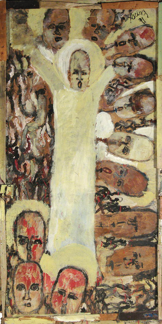 Purvis Young (1943-2010), untitled (Leader of the Peoples), 1991, 52 x 100 inches. Medium: house paint on wood assemblage. Provenance: Grumbacher-Viener collection. Estimate: $50,000 - $75,000. Material Culture image.