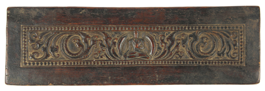 Outstanding 12th/13th century Buddhist manuscript cover with Amoghasiddhi Buddha flanked by scrolling vines. Estimate: $3,000 - $5,000. Material Culture image.