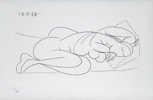 One of three etchings of nudes by Pablo Picasso (Spanish, 1881-1973). This image is from the 1940 book 'Afat' (edition of 64) by Ilia Zdanevith. Estimate $5,000-$7,000. Palm Beach Modern Auctions image.