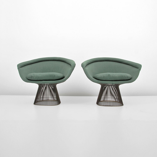 Warren Platner (American, 1919-2006) for Knoll International (American) pair of upholstered lounge chairs with bronze frames, 1972. Estimate $5,000-$7,000. Palm Beach Modern Auctions image.
