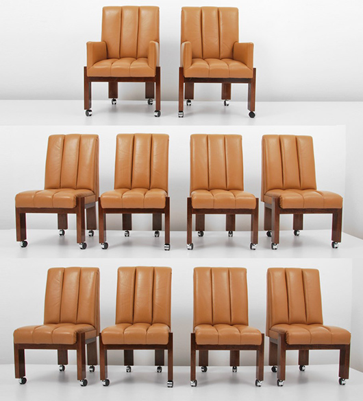 Paul Evans (American, 1931-1987) rare set of 10 tufted leather and wood dining chairs, two with arms, circa 1970. Estimate $20,000-$30,000. Palm Beach Modern Auctions image.