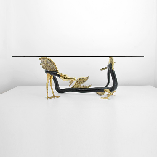 Jacques Duval-Brasseur (French) rare and large dining table with dragon-sculpture base, probably circa 1975. Estimate $30,000-$35,000. Palm Beach Modern Auctions image.