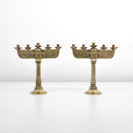 Large pair of circa-1930 Art Deco Egyptian Revival candelabra, French, silvered bronze. Estimate $6,000-$8,000. Palm Beach Modern Auctions image.