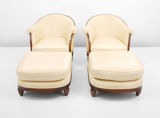 Jules Leleu (French, 1883-1961) rare pair of rosewood and ivory Art Deco chairs with matching ottomans, circa 1923. Estimate $50,000-$70,000. Palm Beach Modern Auctions image.