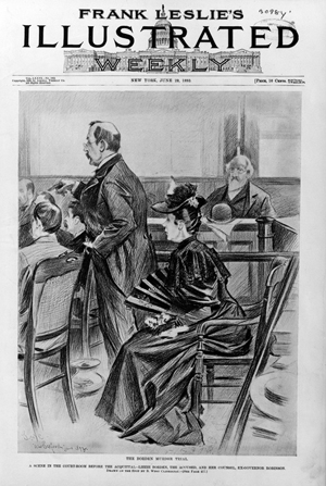 A courtroom scene of the Borden murder trial that appeared on the cover of 'Frank Leslie's Illustrated' newspaper dated June 29, 1893. Image courtesy of Wikimedia Commons.