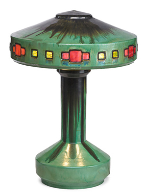 Fulper Vasekraft lamp, circa 1908. Estimate: $12,500-$17,500. Rago Arts and Auction Center image.