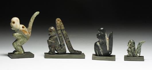 Mezcala monkey group, ex Sotheby's, est. $15,000-$25,000. Antiquities Saleroom image.