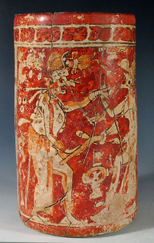 Important Mayan polychrome cylinder, est. $5,000-$10,000. Antiquities Saleroom image.