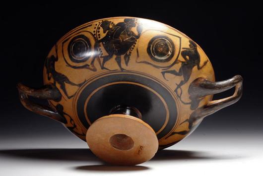 Greek Attic black figure kylix, owl eyes, est. $20,000-$30,000. Antiquities Saleroom image.