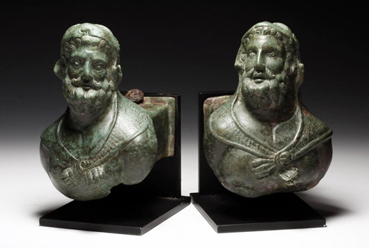 Pair Roman bronze chariot fittings of Pericles (Hercules), est. $40,000-$60,000. Antiquities Saleroom image.