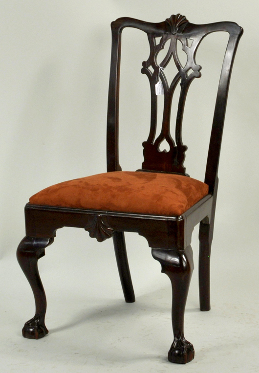 American mahogany side chair. Woodbury Auction image.