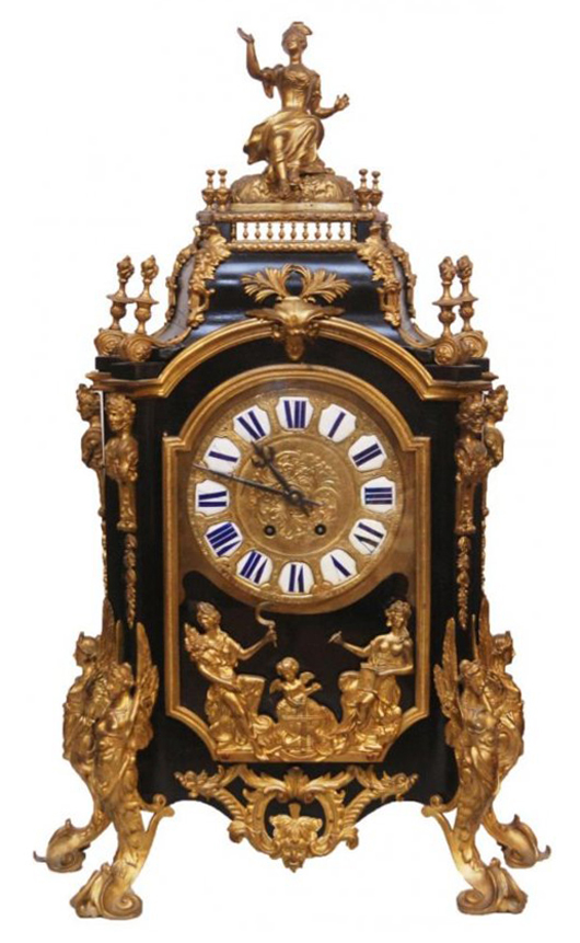 Nineteenth century Samuel Marti & Co. bronze and wood mantel clock (est. $2,000-$3,000). Elite Decorative Arts image.