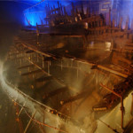 The Mary Rose undergoing conservation at the historic dockyard in Portsmouth, England. Image courtesy of the Mary Rose Trust. This file is licensed under the Creative Commons Attribution-Share Alike 2.0 Unported license.