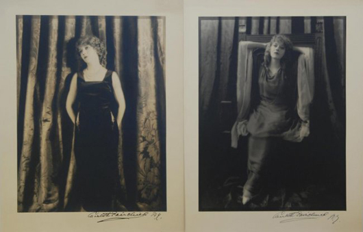 Two photographs of Mary Pickford by Charlotte Fairchild, photographer signed (est. $2,000-$3,000). Elite Decorative Arts image.