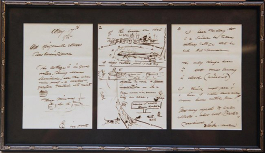 Rare autographed letter signed by iconic American painter Winslow Homer from 1909, with drawings (est. $6,000-$8,000). Elite Decorative Arts image.