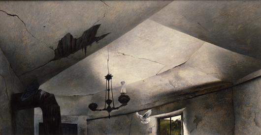 Andrew Wyeth (1917-2009), 'Mother Archie's Church,' 1945, tempera on Masonite. The Addison Gallery of American Art, Phillips Academy, Andover, Massachusetts, museum purchase 1946.3 © Andrew Wyeth.