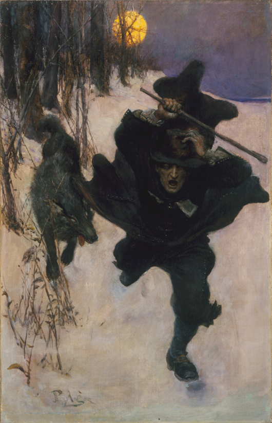 Howard Pyle (1853-1911), 'Once It Chased Doctor Wilkinson into the Very Town Itself,' 1909, oil on canvas. Illustration for Howard Pyle, 'The Salem Wolf,' in Harper's Monthly, December 1909. Brandywine River Museum, gift of Mr. and Mrs. Howard P. Brokaw, 2007.