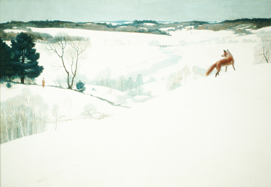 Newell Convers Wyeth (1882-1945), 'Fox in the Snow' (Thoreau and The Fox), c. 1935, tempera on Renaissance Panel. Arkell Museum at Canajoharie, Gift of Bartlett Arkell, 1940. 'Fox in the Snow' by N.C. Wyeth. Copyright 1936, renewed 1964 by Houghton Mifflin Harcourt. Used by permission. All rights reserved.
