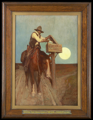 Newell Convers Wyeth (American 1882-1945), 'Rural Delivery (Where the Mail Goes, 'Cream of Wheat' Goes),' 1906, oil on canvas. Minneapolis Institute of Art, Gift of the National Biscuit Co., 70.63.